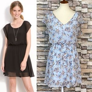Lush Harper Blouson Chiffon Dress Floral Blue M